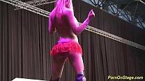 extreme wild cock sharing on public show stage thumbnail