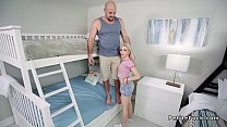 Petite teen bangs in room with bunk beds
