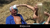 Image: Old farmer man gets fucked by blonde babe