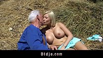Old farmer man gets fucked by blonde babe thumb
