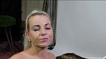 Blonde amateur Lucy loves taking cum on her face