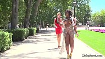 Busty ebony banged and pissed in public