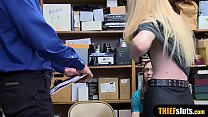 Petite teen thief punish fucked by a cop in front of BF