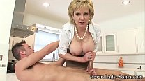 Lady Sonia Jerks Off Young Stud On Kitchen Counter's Thumb