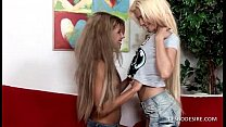 Lesbians suck and fondle one anothers small tits and erect nipples