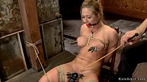 Clamped busty blonde slave is toyed