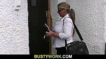 Blonde BBW sucks and rides customer's cock Thumbnail