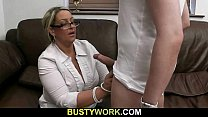 7265 Blonde BBW sucks and rides customer's cock preview