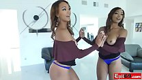 Big booty black babe fucked with her panties still on preview image
