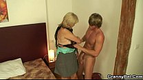 Old whore rides young cock