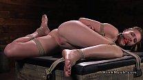 Brunette slave flogged in several hogties ~ xxx boob press thumbnail