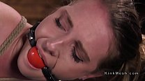 Brunette slave flogged in several hogties ~ xxx boob press thumbnail
