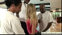 Blonde slutwife cheats with 3 black men's Thumb