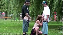Extreme public street sex threesome with a cute blonde teen Alexis Crystal Vorschaubild