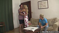 His cute blonde girl involved into family 3some Preview
