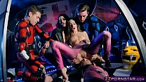 Power Rangers cosplay and group fuck with pornstars porn thumbnail