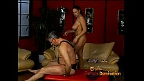 Lusty stunner Gianna Michaels really enjoys spanking a latex-clad stallion thumbnail