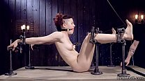 Masked redhead slave in device bondage video