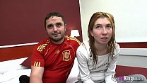 Young  and shy couple started a new life in por...