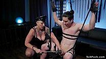 Gagged man gets femdom in bdsm swing