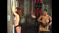 Skinny redhead slut has some dungeon fun with an ebony hussy - Download mp4 XXX porn videos