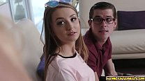 Step bro fucks Avery Adair hard on top of his b...