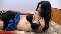 Asian shemale in sexy black lingerie plays with hairy cock