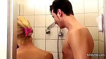 German MILF Seduce to Fuck by Step-Son Big Dick in Shower