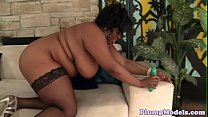 Ebony BBW masturbates after sucking a dildo