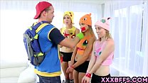 Pokemon Go XXX parody with three awesome teen c...