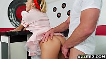 Hot waitress Natalia Starr offers her pussy for free