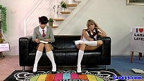 British MILF spanks naughty schoolgirls