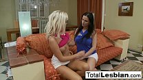 Image: Euro lesbians Bianca and Walleria play on the sofa