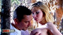 Perfect babe fucked by body builder with large cock in the woods thumbnail