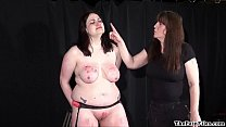 Amateur bdsm and extreme lesbian domination of chubby slave girl in hardcore صورة