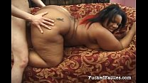Horny fat ebony loves fucking a white guy