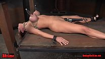Nipple suckered bdsm babe tied and toyed Preview