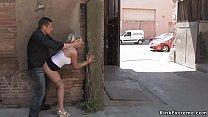 Blonde suck and fuck in alley outdoor