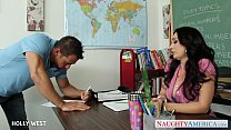 Brunette teacher Holly West fuck young student