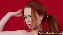 Cumloving English redhead cleansup facial