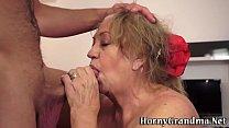 Fat grannys mouth cummed image