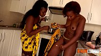 Two black amateur lesbians get naughty in the kitchen