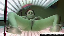 Luxury Busty brunette masturbates in solarium's Thumb