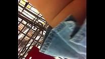 over~alls jean upskirt shopping