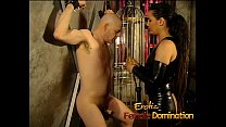 Naughty stud has his balls and nipples pinched by two hot sluts