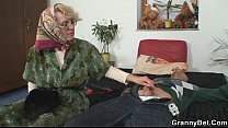 Grandma pleases an young guy video