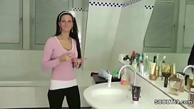 German StepSister Caught in Bathroom and Helps with Handjob