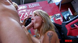 Two blonde sluts fucked hard in the ass in a garage