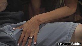 The desperate stepmom seduces her stepson