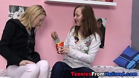 Sexy teen lesbos licking